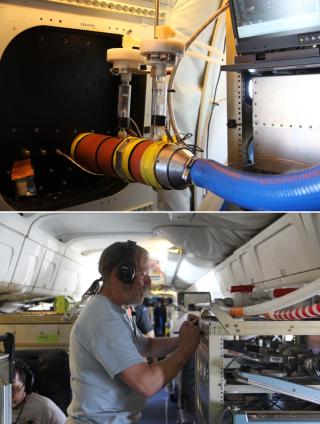 미국항공우주국(NASA)의 연구용 항공기 'DC-8'의 내부에 탑재된 대기 관측 장비 중 하나인 'SAGA'(위). 이 장비는 튜브를 통해 기체 밖에서 빨아들인 공기를 이온크로마토그래피 기법으로 분석해 0.5초에 한 번씩 에어로졸과 수용성 산의 대기 중 농도를 측정한다. 이 장비를 이용해 얻은 데이터를 잭 딥 미국 햄프셔 지구해양우주연구소 교수가 기록하고 있다. - 송경은 기자 kyungeun@donga.com